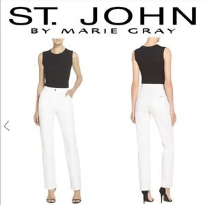 St. John by Marie Gray White Pants / Tropic Belt